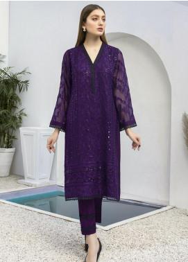 Azure Embroidered Chiffon Unstitched Kurties AZU21FK 06 Indigo - Luxury Formal Collection