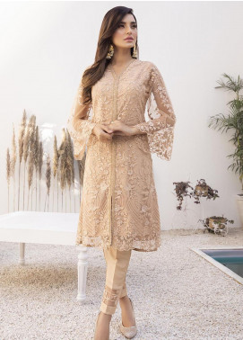 Azure Embroidered Net Unstitched Kurties AZU21FK 09 Regal Beige - Luxury Formal Collection