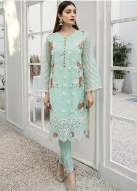 Azure Embroidered Organza Unstitched Kurties AZU21FK 11 Hellebores - Luxury Formal Collection