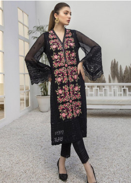 Azure Embroidered Chiffon Unstitched Kurties AZU21FK 12 Noir Beaute - Luxury Formal Collection