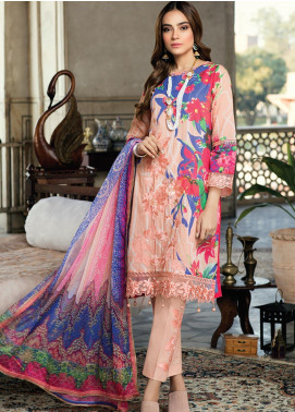 Azure Embroidered Lawn Unstitched 3 Piece Suit AZU20P Dazzling Rose 07 - Luxury Collection