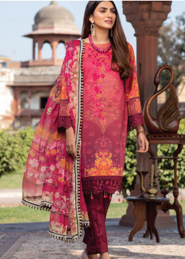 Azure Embroidered Lawn Unstitched 3 Piece Suit AZU20P Rustic Galore 02 - Luxury Collection