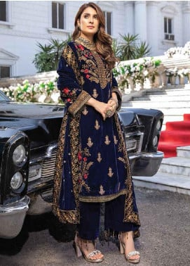 Azure Embroidered Velvet Unstitched 2 Piece Suit AZU20W 01 Shore Sky - Winter Collection