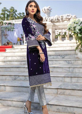 Azure Embroidered Velvet Unstitched 2 Piece Suit AZU20W 02 Purple Bow - Winter Collection