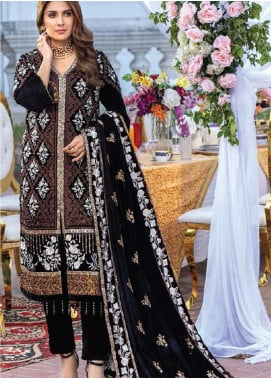 Azure Embroidered Velvet Unstitched 2 Piece Suit AZU20W 04 Dreamy Sunset - Winter Collection