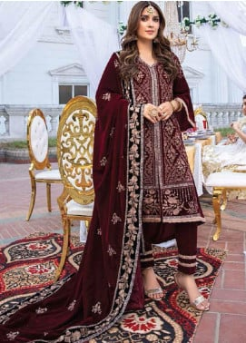 Azure Embroidered Velvet Unstitched 2 Piece Suit AZU20W 05 Tempting Rose - Winter Collection