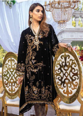 Azure Embroidered Velvet Unstitched 2 Piece Suit AZU20W 06 Metalic Moon - Winter Collection