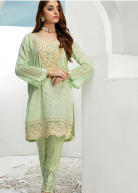 Azure Embroidered Chiffon Stitched 2 Piece Suit AZU19P 06 CRYSTAL MINT