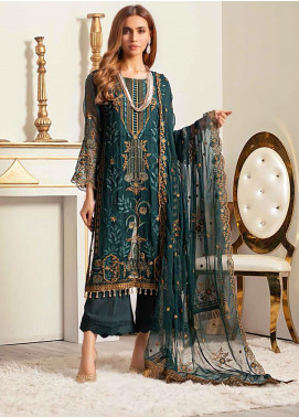 Banafsheh Embroidered Chiffon Unstitched 3 Piece Suit BF20LC 01 - Luxury Collection