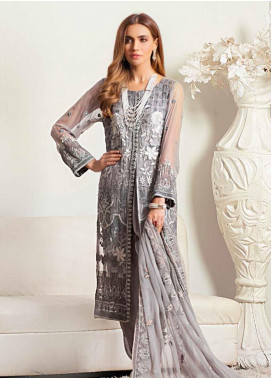 Banafsheh Embroidered Chiffon Unstitched 3 Piece Suit BF20LC 02 - Luxury Collection