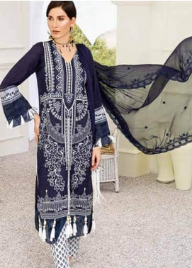 Banafsheh Embroidered Lawn Unstitched 3 Piece Suit BF20F D-02 - Luxury Collection