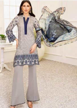 Banafsheh Embroidered Lawn Unstitched 3 Piece Suit BF20F D-07 - Luxury Collection