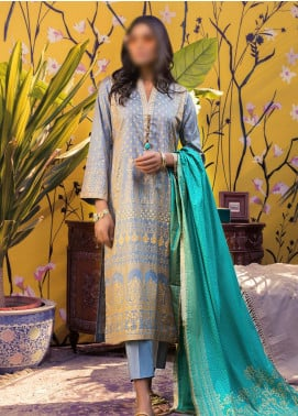 Banarsi by ZS Textiles Printed Banarsi Unstitched 3 Piece Suit ZS20-B5 ZS-03 - Spring / Summer Collection