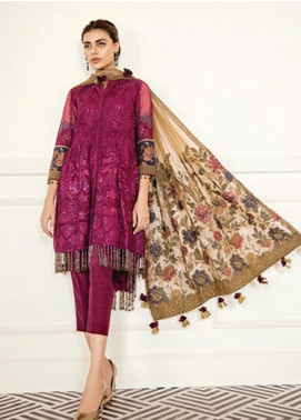 Baroque Embroidered Chiffon Unstitched 3 Piece Suit BQ19-C6 01 CERISE - Luxury Collection