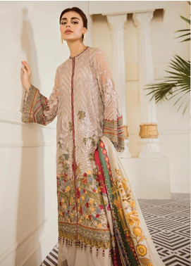 Baroque Embroidered Chiffon Unstitched 3 Piece Suit BQ19-C6 03 SEPIA - Luxury Collection