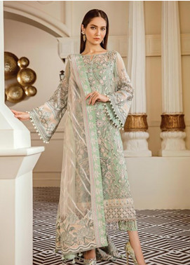 Baroque Embroidered Chiffon Unstitched 3 Piece Suit BQ19-C6 05 MINT TEA - Luxury Collection