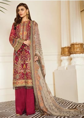 Baroque Embroidered Chiffon Unstitched 3 Piece Suit BQ19-C6 06 CURRANT - Luxury Collection
