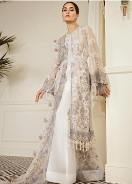 Baroque Embroidered Chiffon Unstitched 3 Piece Suit BQ19-C6 09 PEWTER - Luxury Collection