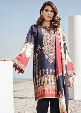 Baroque Embroidered Khaddar Unstitched 3 Piece Suit BQ18K 7 Vermillion Blue - Luxury Collection