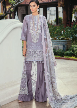 Baroque Embroidered Lawn Unstitched 3 Piece Suit BQ20E 04 LILAC MIST - Eid Collection