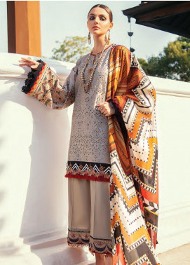 Baroque Embroidered Lawn Unstitched 3 Piece Suit BQ20E 07 SATIN SAND - Eid Collection