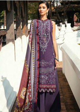 Baroque Embroidered Lawn Unstitched 3 Piece Suit BQ20E 08 SOFT TAN - Eid Collection