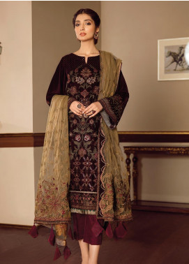 Baroque Embroidered Velvet Unstitched 3 Piece Suit BQ19V 01 MELOS - Winter Collection