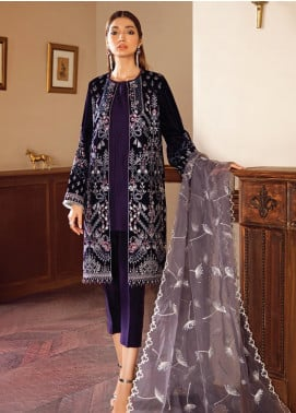 Baroque Embroidered Velvet Unstitched 3 Piece Suit BQ19V 02 PLUM BERRY - Winter Collection