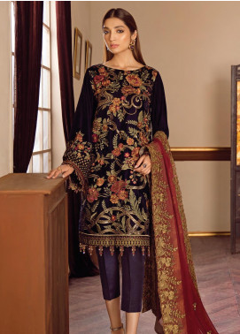 Baroque Embroidered Velvet Unstitched 3 Piece Suit BQ19V 03 WARM SHINE - Winter Collection