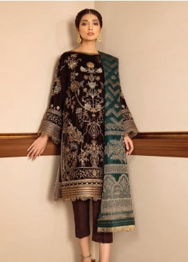 Baroque Embroidered Velvet Unstitched 3 Piece Suit BQ19V 04 GLIMMER EVE - Winter Collection