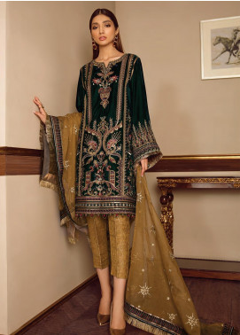 Baroque Embroidered Velvet Unstitched 3 Piece Suit BQ19V 05 LIGHT HARMONY - Winter Collection