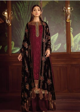 Baroque Embroidered Chiffon Unstitched 3 Piece Suit BQ19V 06 REDDEN BLUSH - Winter Collection