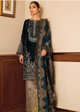 Baroque Embroidered Velvet Unstitched 3 Piece Suit BQ19V 08 GLEAM - Winter Collection
