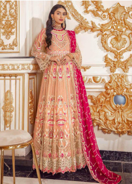 Belle Robe by Emaan Adeel Embroidered Net Unstitched 3 Piece Suit EA20-C14 1404 BERRY SORBET - Luxury Collection