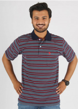 Bien Habille Cotton Polo T-Shirt for Men -  Blue Red & Grey