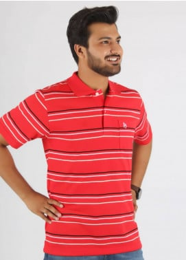 Bien Habille Cotton Polo Men T-Shirt -  Red White & Black