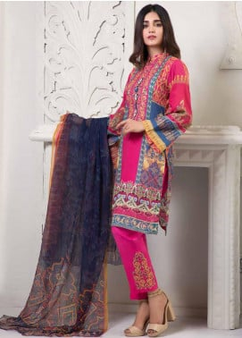 Bin Ahmad Embroidered Lawn Unstitched 3 Piece Suit BA19F 02 - Festive Collection