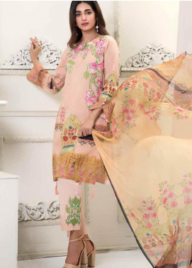 Bin Ahmad Embroidered Lawn Unstitched 3 Piece Suit BA19F 03 - Festive Collection