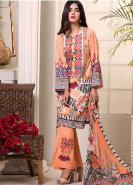 Bin Ahmad Embroidered Lawn Unstitched 3 Piece Suit BA19F 07 - Festive Collection