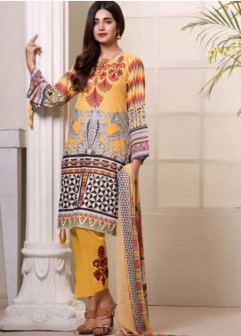 Bin Ahmad Embroidered Lawn Unstitched 3 Piece Suit BA19F 08 - Festive Collection