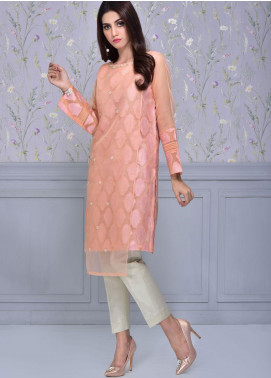 Sheep Casual Organza Stitched Kurti BS100570 Peach