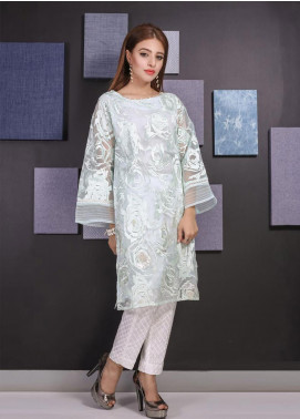 Sheep Casual Organza Stitched Kurti BS100767 Off White