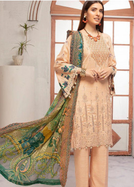 Riaz Arts Embroidered Leather Peach Unstitched 3 Piece Suit RA20PL BL-06 - Winter Collection