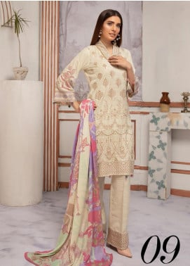 Riaz Arts Embroidered Leather Peach Unstitched 3 Piece Suit RA20PL BL-09 - Winter Collection
