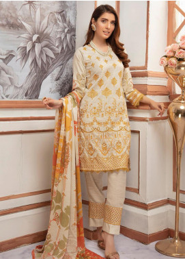 Riaz Arts Embroidered Leather Peach Unstitched 3 Piece Suit RA20PL BL-10 - Winter Collection