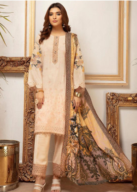 Riaz Arts Embroidered Leather Peach Unstitched 3 Piece Suit RA20PL BL-12 - Winter Collection