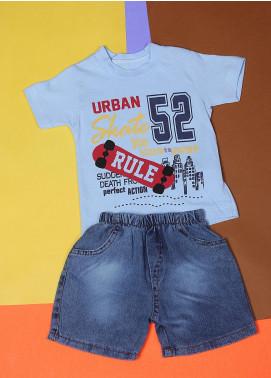 Sanaulla Exclusive Range Cotton Fancy Boys Suits -  22549-4 Sky Blue