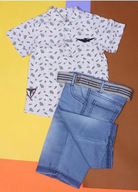 Sanaulla Exclusive Range Cotton Fancy Suits for Boys -  22557-2 Off White
