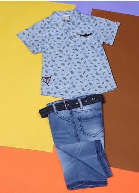 Sanaulla Exclusive Range Cotton Fancy Boys Suits -  22557 Sky Blue