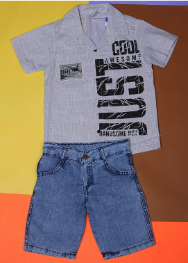 Sanaulla Exclusive Range Cotton Fancy Suits for Boys -  22697 Grey